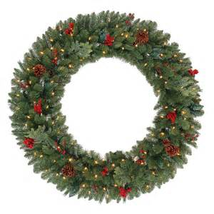 martha stewart living 48 in battery operated pre lit led winslow artificial christmas wreath