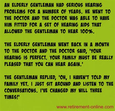 retirement jokes hearing problems memory loss  marriage