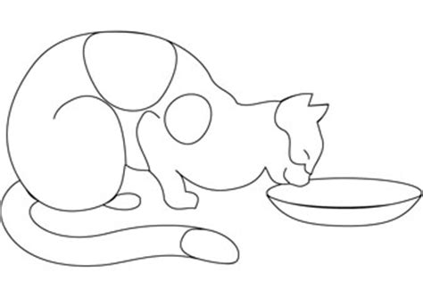 cat drinking milk coloring page