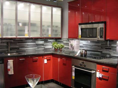 pictures  ikea kitchens bright red glossy cabinets