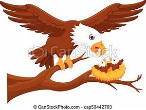 Vector illustration of cute eagle cartoon up tree with smile.