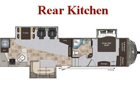 rear kitchen rv floor plans new fifth wheels for broadmoor rv superstore 7642
