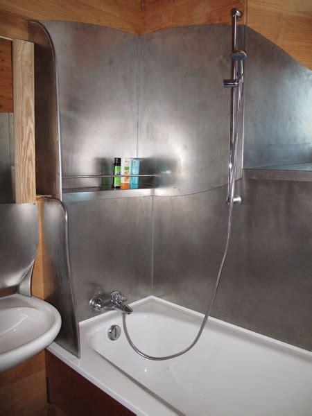 metal bathroom sheet metal shower interior no tiles no cracks no water enters the construction by architect