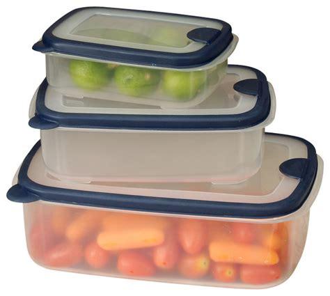 container cuisine 6 plastic container set with rectangular lids