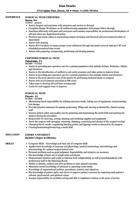 Surgical Tech Resume by Surgical Tech Resume Sles Velvet