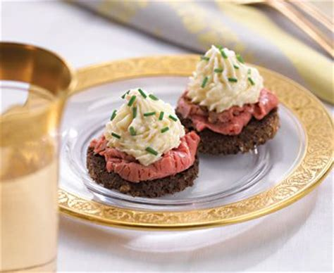 beef canape recipes horseradish mousse topped beef canapés recipe 22147