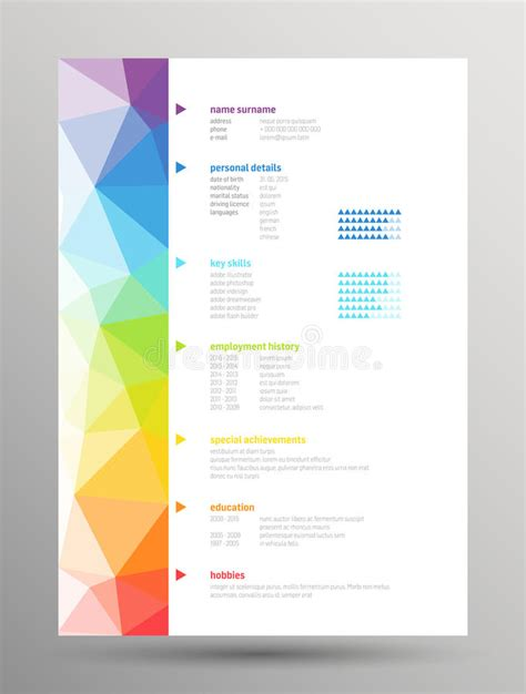 resume curriculum vitae stock vector illustration
