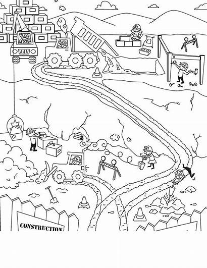 Construction Coloring Pages Scene Race Track Sketch