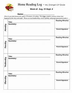 best photos of 4th grade reading log 3rd grade reading With 4th grade reading log template