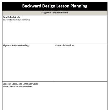 backward design template backward design lesson plan template by