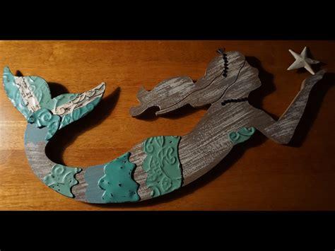 Distressed Wood & Metal Mermaid Wall Art Sculpture Beach