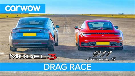 tesla model  performance drag race  porsche