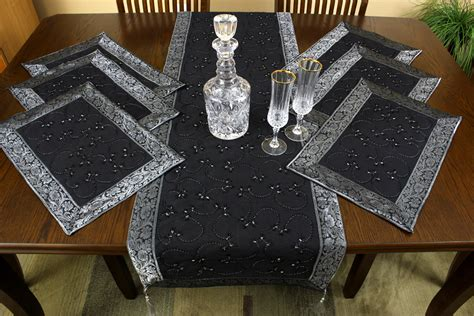 hand embroidered  piece placemat table runner set