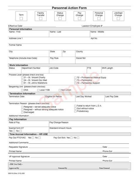 personnel form template 900116 personnel form