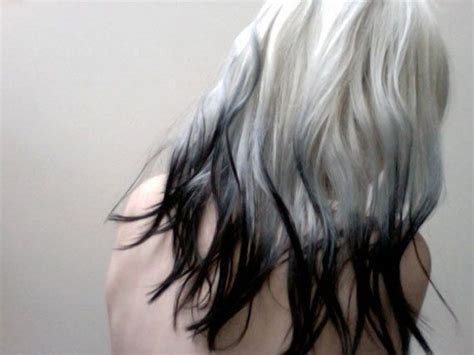 rare white platinum  black dip dye tips human hair