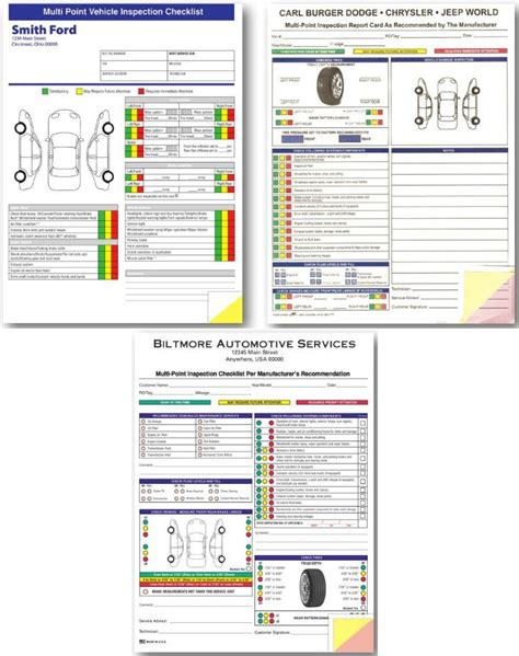 bureau inspection automobile multi point inspection form custom