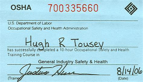 osha 10 certificate template osha card template images