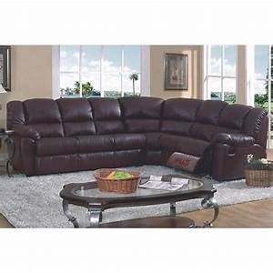 Brown leather match full sleeper reclining sectional sofa for Sectional sleeper sofa overstock