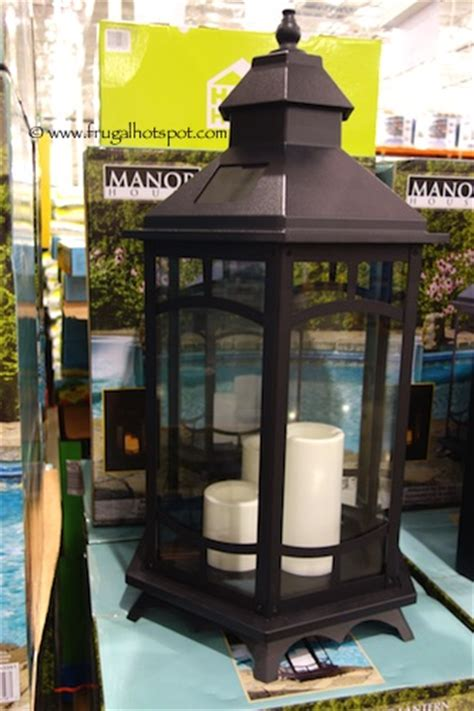 solar patio lights costco costco 33 quot manor house solar flickering lantern frugal