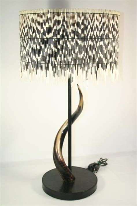 porcupine quill lamp  natural kudu horn  leather