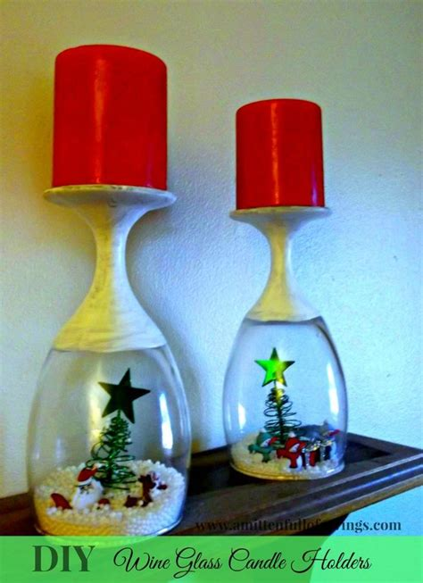 diy christmas wine glass candle holder crafts glass