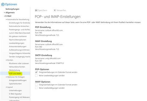 Office 365 Outlook Pop3 by Office365 Smtp Pop3 Und Imap Einstellungen Knoefel