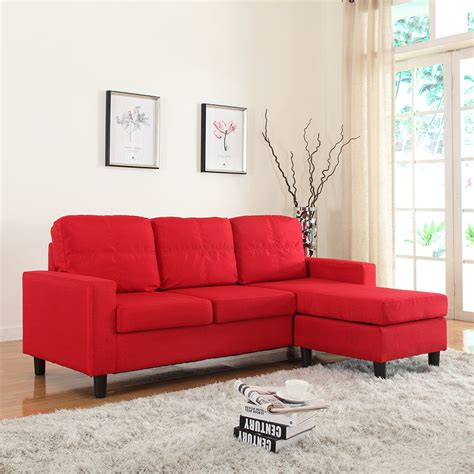 small sectional loveseat modern reversible linen fabric small sectional sofa