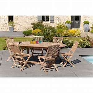 Table Teck Jardin : ensemble en teck table extensible ovale de jardin 150 200 cm 6 chaises achat vente salon ~ Teatrodelosmanantiales.com Idées de Décoration