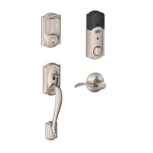 schlage camelot satin nickel sense smart lock  left