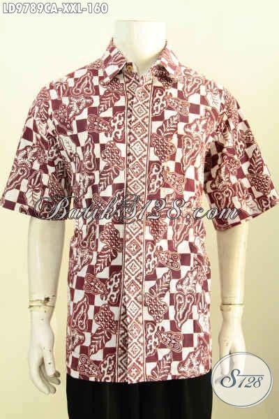 batik kemeja modis batik keren lengan pendek spesial untuk lelaki gemuk berbahan adem