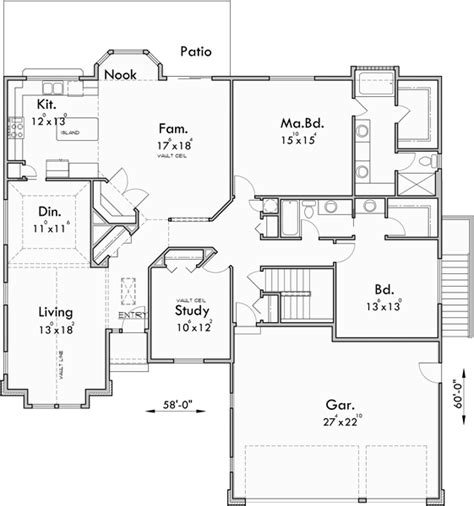house plans with 3 master suites sprawling ranch house plans house plans with basement