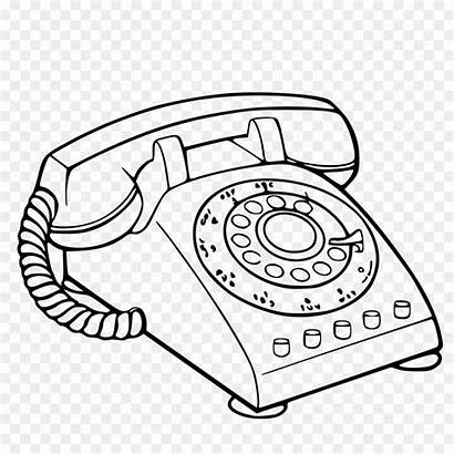 Telephone Clipart Phone Coloring Fashioned Drawing Transparent