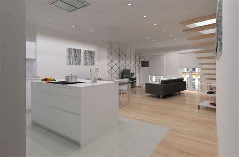 cocina  isla integrada en salon madrid cocinas santos dc