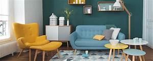 Deco Salon Scandinave Bleu Jaune