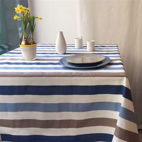 wipe clean table cloth wipeable tablecloth stripes blue taupe made in france