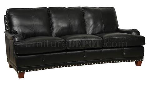 nailhead trim sofa set black full italian leather classic 4pc sofa set w nailhead