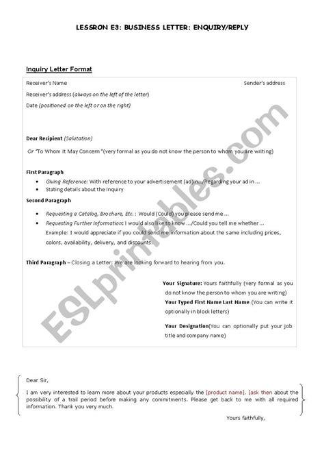 business letter inquiryreply esl worksheet  saharsahar