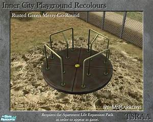 MsBarrows' Inner City Playground - Rusted Green Merry-Go-Round