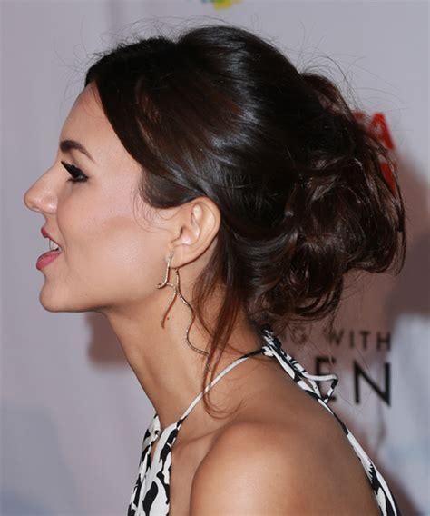 Victoria Justice Long Wavy Formal Updo Hairstyle   Dark