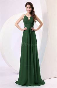 hunter green plain column scoop zipper chiffon ruching With evening wedding dress