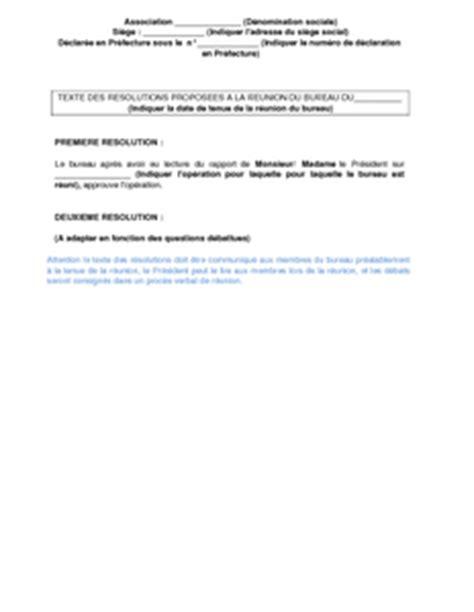 bureau d une association texte des résolutions proposées au bureau d 39 une