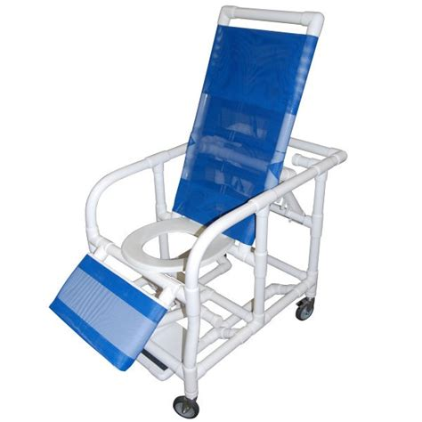 reclining pvc commode shower chair with legrest and