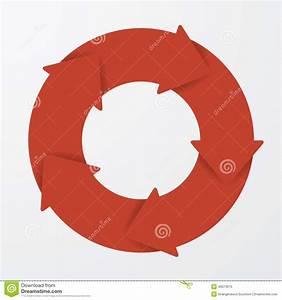 Vector Red Life Cycle Arrow Diagram  5 Steps  Stock Vector
