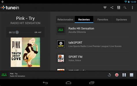tunein radio android tunein radio pro radios y podscats para android apk