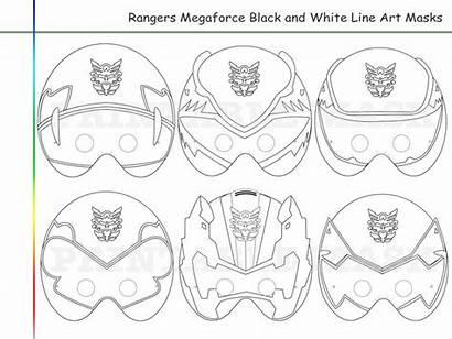 Rangers Coloring Pages Printable Megaforce Mask Masks