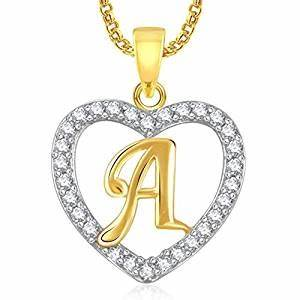buy meenaz gold plated alphabet 39a39 letter heart pendant With gold lockets with letters