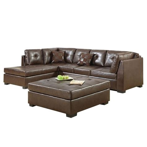 coaster leather sectional sofa coaster darie leather sectional sofa with ottoman in brown