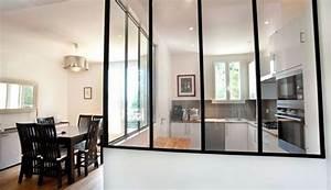 cloison vitree pour cuisine fermee appartement With cloison vitree cuisine salon