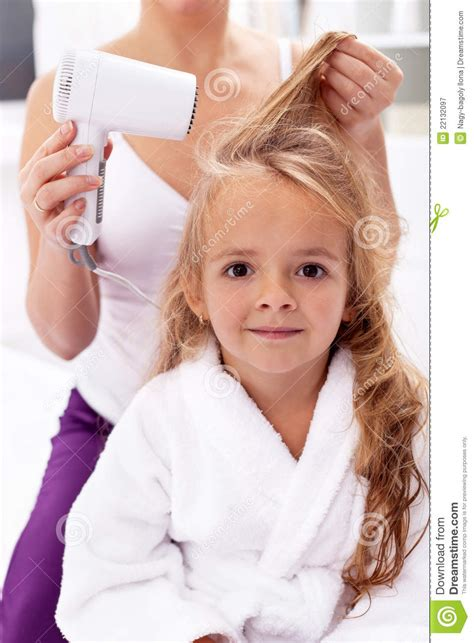 drying hair personal hygiene stock image image