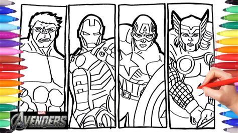 avengers drawing coloring iron man thor hulk